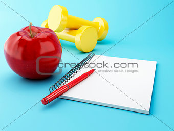 3D Apple with a notepad and dumbbell.