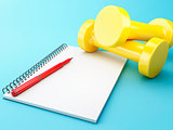 3D Dumbbells with a notepad. Healthy concept.
