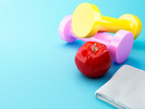 3D An apple with dumbbells and towel.