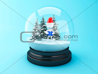 3D White people with christmas gifts in snow dome.