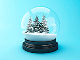 3d Snow dome with pine trees.