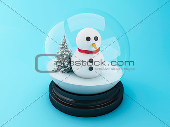 3d Snowman in a snow dome.