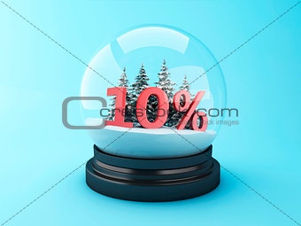 3d Snow dome with trees and red 10% discount.