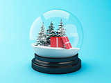 3d Snow dome with christmas gift.