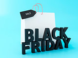 3d Black friday with shopping bag.