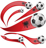 albania flag set with soccer ball