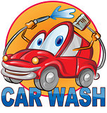 car wash symbol cartoon isolated on white
