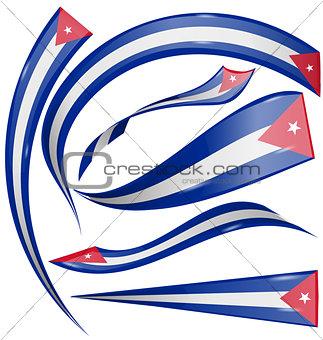 cuba flag set isolated on white background