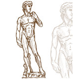 david statue of Michelangelo on white background