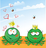couple frog in love on background