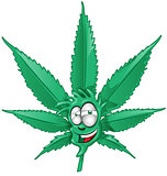 fun marijuana cartoon on white background