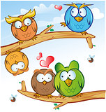 funny owl group cartoon on tree