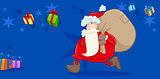 santa with sack greeting card