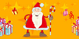 santa with cane greeting card
