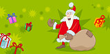 xmas greeting card with santa