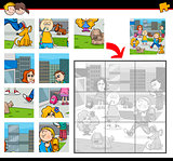 jigsaw puzzle task with kids
