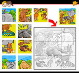jigsaw puzzle activity with animals