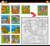jigsaw puzzle activity with cats