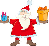 santa claus with gifts cartoon