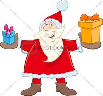 santa claus with gifts cartoon