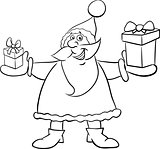 santa and gifts coloring book