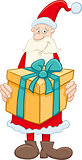 santa claus with big gift