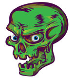 green skull sketch design on white  background