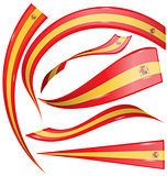 spain flag set on white background