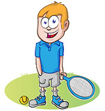 tennis player cartoon on white background