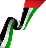 united arab emirates ribbon flag on white background