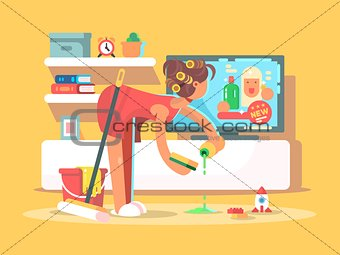 Housewife cleans house