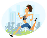 Girl running marathon