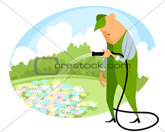Watering flowers with a hose