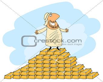 Arab man and gold ingots