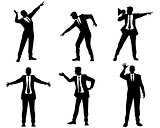 Six businessmen silhouettes