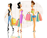 Three girls shopping