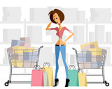 Woman with shopping chart