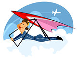Girl on hang-glider