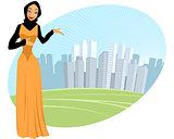 Muslim girl - urban scene