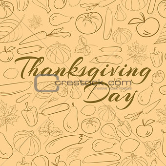 Autumn graphic pattern with fruits and vegetables. Vector Thanksgiving day design