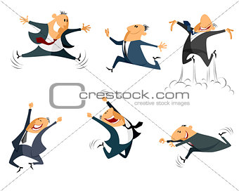 Six jumping businessmen