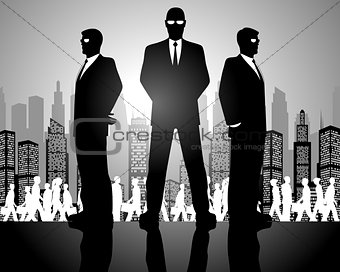 Three businessmen silhouettes