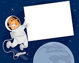 Cosmonaut with banner
