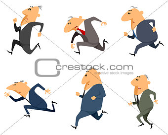 Six businessmen running