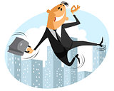 Funny jumping businessman
