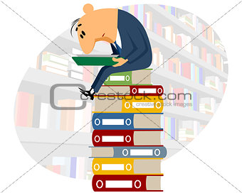 Clerk reading documents