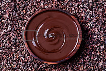 Bowl of melted chocolate on a crushed cocoa beans