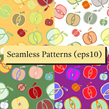 Seamless background patterns set with apples