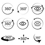 Full 360 degrees angle view icons.