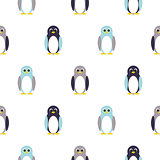 Penguin blue, purple on white kid pattern.
